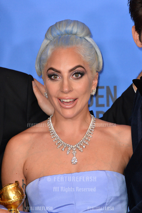 LOS ANGELES, CA. January 06, 2019: Lady Gaga at the 2019 Golden Globe Awards at the Beverly Hilton Hotel.<br /> Picture: Paul Smith/Featureflash