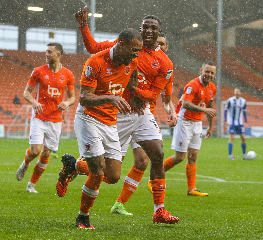 Blackpool's Kyle Vassell celebrates scoring his side's first goal with teammate Viv Solomon-Otabor<br /> <br /> Photographer Alex Dodd/CameraSport<br /> <br /> The EFL Sky Bet League One - Blackpool v Wigan Athletic - Saturday 21st October 2017 - Bloomfield Road - Blackpool<br /> <br /> World Copyright &copy; 2017 CameraSport. All rights reserved. 43 Linden Ave. Countesthorpe. Leicester. England. LE8 5PG - Tel: +44 (0) 116 277 4147 - admin@camerasport.com - www.camerasport.com