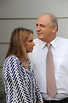 Shari Arison, left, owner of the Arison Group, and Yitzhak Tshuva, right, controller of Delek Group, at an opening event of a new desalination facility in Hadera, Israel, on Sunday, May 16, 2010.<br />