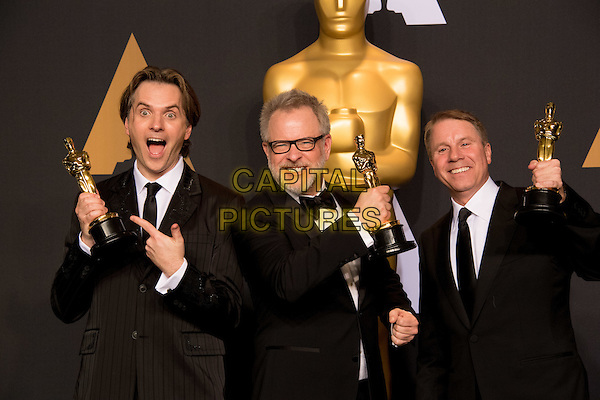 Byron Howard, Rich Moore and Clark Spencer, pose backstage the Oscar&reg; for Best animated feature film of the year for outstanding work on the &ldquo;Zootopia&rdquo; during the live ABC Telecast of The 89th Oscars&reg; at the Dolby&reg; Theatre in Hollywood, CA on Sunday, February 26, 2017.<br /> *Editorial Use Only*<br /> CAP/PLF/AMPAS<br /> Supplied by Capital Pictures