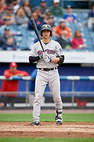 Scranton/Wilkes-Barre RailRiders  at bat during a game against the Syracuse Chiefs on June 14, 2018 at NBT Bank Stadium in Syracuse, New York.  Scranton/Wilkes-Barre defeated Syracuse 9-5.  (Mike Janes/Four Seam Images)