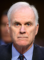 """United States Secretary of the Navy Richard V. Spencer testifies before the US Senate Committee on Armed Services during a hearing on """"Chain of Command's Accountability to Provide Safe Military Housing and Other Building Infrastructure to Service members and Their Families"""" on Capitol Hill in Washington, DC on Thursday, March 7, 2019.<br /> Credit: Ron Sachs / CNP/AdMedia"""