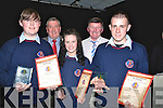 ATTENDENCE: The winner of the Causeway Student ovall all attendance 2010/11 who were presented wiuth their plaques and certificates at a specialal ceremony in Cuseway Comprehensive Sec School, on Thursday night. Front l-t;   Allan Wynne, Lauren Dineen and John Costello.Back l-r: John OORegan (past principal) and Tim Leahy.