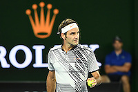 January 29, 2017: Roger Federer of Switzerland waits for a decision on a line call in the Men's Final against Rafael Nadal of Spain on day 14 of the 2017 Australian Open Grand Slam tennis tournament in Melbourne, Australia. Photo Sydney Low