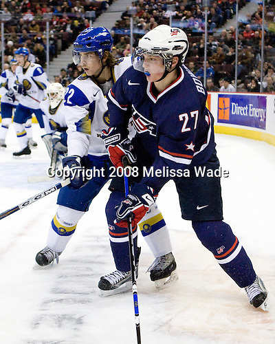 Leonid Metalnikov (Kazakhstan - 22), Drayson Bowman (USA - 27) - The US defeated Kazakhstan 12-0 on Tuesday, December 30, 2008, at Scotiabank Place in Kanata (Ottawa), Ontario during the 2009 World Junior Championship.