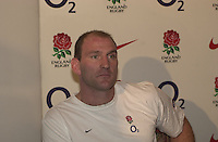 02/02/2004 England Rugby Press Conference. Pennyhill Park, Bagshot, Surrey. England Capt press conference. Lawrence Dallaglio faces the press..   [Mandatory Credit, Peter Spurrier/ Intersport Images].