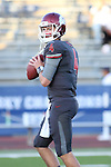 Luke Falk warms up prior to the Washington State Cougars non-conference road opener against the Nevada Wolfpack at Mackay Stadium in Reno, Nevada, on September 5, 2014.