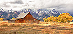 An old barn sits on Mormon Row in Jackson Hole, Wyoming.
