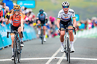 Picture by Alex Whitehead/SWpix.com - 04/05/2018 - Cycling - 2018 Asda Women's Tour de Yorkshire - Stage 1: Barnsley to Ilkley - Boels Dolmans' Karol-Ann Canuel<br />  and Chantal Blaak.