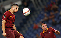 Calcio, Europa League: Roma vs Astra Giurgiu. Roma, stadio Olimpico, 29 settembre 2016.<br /> Roma&rsquo;s Kostas Manolas heads the ball during the Europa League Group E soccer match between Roma and Astra Giurgiu at Rome's Olympic stadium, 29 September 2016. Roma won 4-0.<br /> UPDATE IMAGES PRESS/Riccardo De Luca