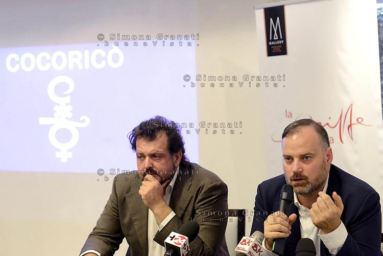 Roma, 3 Agosto 2015<br /> Luigi Crespi e Fabrizio De Meis.<br /> Conferenza stampa del general manager del Cocoric&ograve; all'hotel La Griffe di Roma