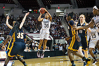 Sophomore guard Victoria Vivians (center) led with 19 points in Mississippi State's 60-50 victory over the 12th-seeded University of Chattanooga Mocs Friday [March 18] at Humphrey Coliseum. Hosting the first two rounds of the NCAA Division I Women's Basketball Tournament for the first time in MSU history, the fifth-seeded Bulldogs now will face the fourth-seeded Michigan State Spartans Sunday [March 20] in a 1:30 p.m. second round match-up at Humphrey Coliseum. <br />  (photo by Megan Bean / &copy; Mississippi State University)