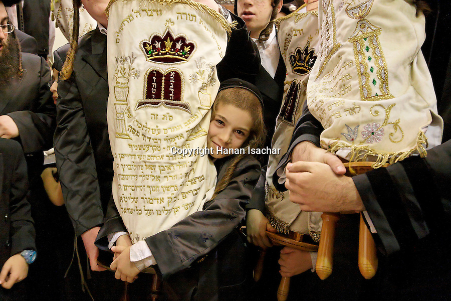 Israel, Bnei Brak. The Synagogue of the Premishlan congregation, Simchat Torah (on the eighths day of Succot), Hassidim and the Torahs 2005<br />