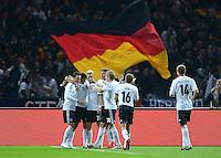 Fussball International  WM Qualifikation 2014   16.10.2012 Deutschland - Schweden Jubel nach dem Tor Mesut Oezil, Miroslav Klose, Marco Reus, Thomas Mueller und Toni Kroos (v. li., Deutschland)
