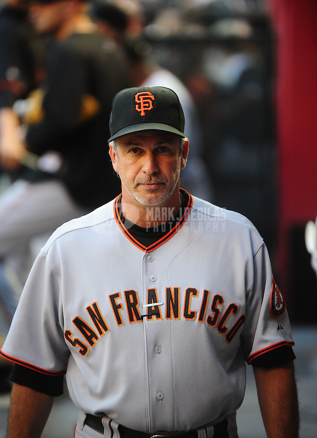 May 19, 2010; Phoenix, AZ, USA; San Francisco Giants bench coach Ron Wotus against the Arizona Diamondbacks at Chase Field. Mandatory Credit: Mark J. Rebilas-