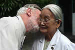 Russ Christenson, 81, a Korean War veteran and member of Veterans for Peace, plants a kiss on the cheek of 82-year-old Dr. Ta Thi Chung outside Tu Du Hospital in Ho Chi Minh City, Vietnam. Members of Veterans for Peace toured Vietnam to learn about efforts to mitigate the suffering of the country's Agent Orange victims and those injured by bombs and land mines left over from the war. Dr. Thi and other medical staff say that about 500 of the 60,000 children born each year at the maternity hospital, Vietnam's largest, have deformities. some because of Agent Orange. But 90 percent of women who come to the hospital chose to abort at the earliest sign of any abnormality, they add. May 1, 2013.