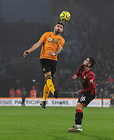 Wolverhampton Wanderers' Ruben Neves (left) battles with Bournemouth's Lewis Cook (right) <br /> <br /> Photographer David Horton/CameraSport<br /> <br /> The Premier League - Bournemouth v Wolverhampton Wanderers - Saturday 23rd November 2019 - Vitality Stadium - Bournemouth<br /> <br /> World Copyright © 2019 CameraSport. All rights reserved. 43 Linden Ave. Countesthorpe. Leicester. England. LE8 5PG - Tel: +44 (0) 116 277 4147 - admin@camerasport.com - www.camerasport.com