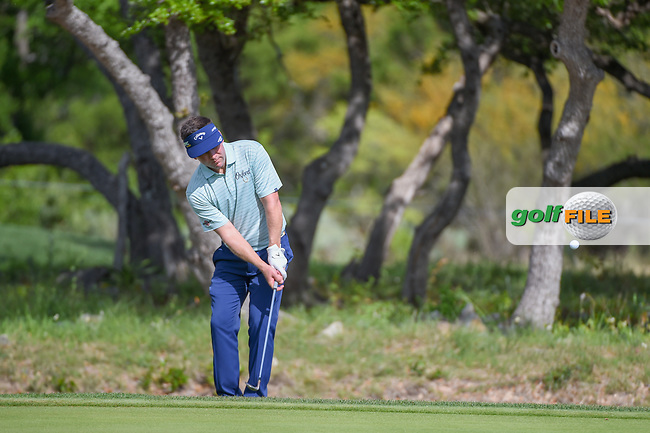 Chase Wright (USA) chips up on to 1 during day 1 of the Valero Texas Open, at the TPC San Antonio Oaks Course, San Antonio, Texas, USA. 4/4/2019.<br /> Picture: Golffile   Ken Murray<br /> <br /> <br /> All photo usage must carry mandatory copyright credit (© Golffile   Ken Murray)
