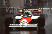 MONTE CARLO, MONACO - JUNE 3: Alain Prost of France drives his McLaren MP4-2 2/TAG TTE PO1 en route to victory in the Grand Prix de Monaco FIA Formula One World Championship race on the temporary Circuit de Monaco in Monte Carlo, Monaco, on June 3, 1984.