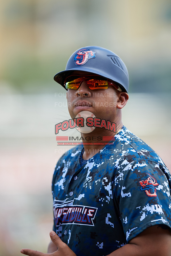 Jacksonville Jumbo Shrimp coach Jose Ceballos (30) during a game against the Birmingham Barons on April 24, 2017 at Regions Field in Birmingham, Alabama.  Jacksonville defeated Birmingham 4-1.  (Mike Janes/Four Seam Images)