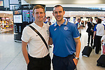 Rosenborg v St Johnstone....17.07.13  UEFA Europa League Qualifier.<br /> St Johnstone Captain Dave Mackay pictured at Edinburgh Airport with ex-saint Liam Craig who was jetting off to Malmo with Hibs.<br /> Picture by Graeme Hart.<br /> Copyright Perthshire Picture Agency<br /> Tel: 01738 623350  Mobile: 07990 594431