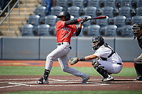 Batavia Muckdogs Dalvy Rosario (17) bats during a NY-Penn League game against the West Virginia Black Bears on August 29, 2019 at Monongalia County Ballpark in Morgantown, New York.  West Virginia defeated Batavia 5-4 in ten innings.  (Mike Janes/Four Seam Images)
