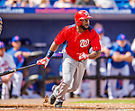23 February 2013: Washington Nationals outfielder Denard Span in leads off the Spring Training season against the New York Mets at Tradition Field in Port St. Lucie, Florida. The Mets defeated the Nationals 5-3 in their Grapefruit League Opening Day game. Mandatory Credit: Ed Wolfstein Photo *** RAW (NEF) Image File Available ***