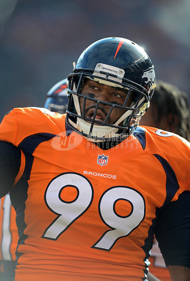 Jan 12, 2013; Denver, CO, USA; Denver Broncos defensive tackle Kevin Vickerson (99) against the Baltimore Ravens during the AFC divisional round playoff game at Sports Authority Field.  Mandatory Credit: Mark J. Rebilas-