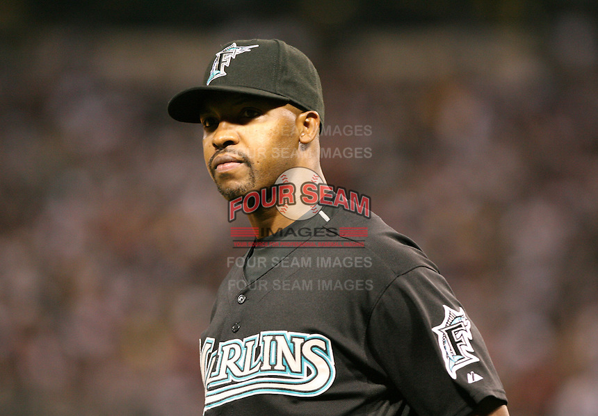 Bo Porter of the Florida Marlins vs. the Chicago White Sox: June 19th, 2007 at U.S. Cellular Field in Chicago, IL.  Photo by Mike Janes/Four Seam Images