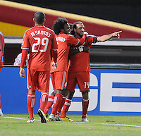 Toronto FC forward Dwayne De Rosario (14) celebrates his score.  Toronto FC. defeated DC United 3-2 at RFK Stadium, October 23, 2010.