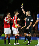 Morgan Schneiderlin of Manchester United receives a yellow card - English Premier League - Manchester Utd vs Chelsea - Old Trafford Stadium - Manchester - England - 28th December 2015 - Picture Simon Bellis/Sportimage