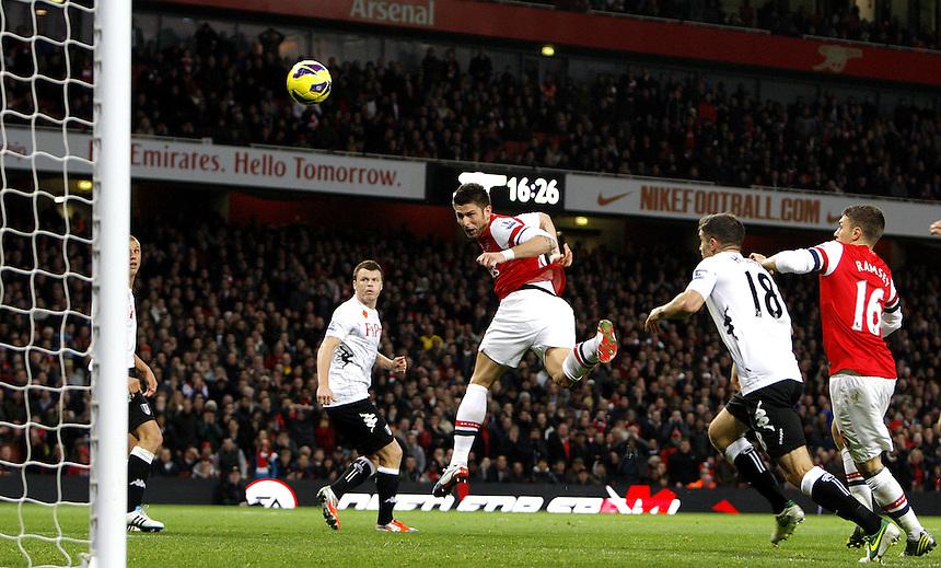 Arsenal's Olivier Giroud scores his sides third goal 3-3..Football - Barclays Premiership - Arsenal v Fulham - Saturday 10th November 2012 - The Emirates Stadium - London ..