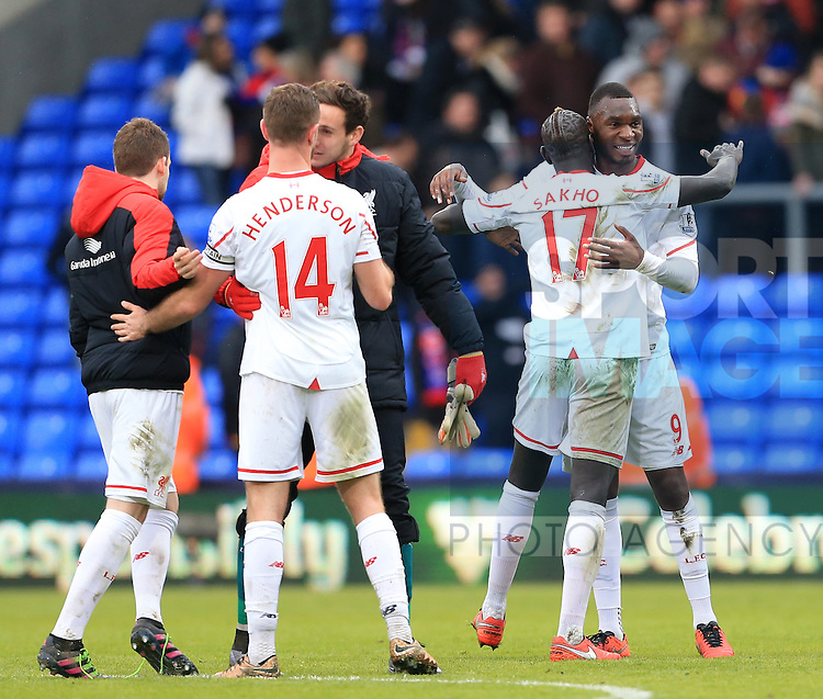 Liverpool's Christian Benteke celebrates at the final whistle<br /> <br /> - English Premier League - Crystal Palace vs Liverpool  - Selhurst Park - London - England - 6th March 2016 - Pic David Klein/Sportimage