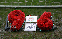A tribute to the victims of the Hillsborough disaster is left behind the goal at the Liverpool end during the Barclays Premier League match between Swansea City and Liverpool played at the Liberty Stadium, Swansea on 1st May 2016