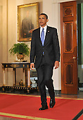"""Washington, D.C. - June 1, 2009 -- United States President Barack Obama arrives to make remarks on the General Motors restructuring in the Grand Foyer of the White House in Washington, D.C. on Monday, June 1, 2009.  In his remarks, the President stated """"working with my Auto Task Force, GM and its stakeholders have produced a viable, achievable plan that will give this iconic American company a chance to rise again""""..Credit: Ron Sachs / CNP"""