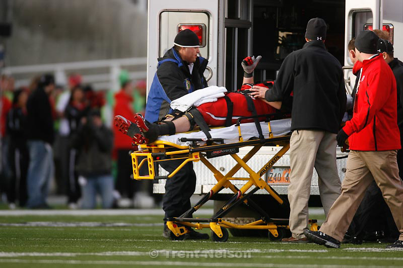 Trent Nelson  |  The Salt Lake Tribune.Utah's Sam Brenner gives a thumbs up to the crowd as he's loaded into an ambulance in the second half, Utah vs. Colorado, college football at Rice-Eccles Stadium in Salt Lake City, Utah, Friday, November 25, 2011