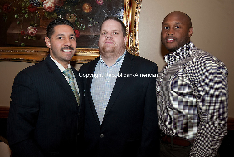 WATERBURY,  CT--- -041416JS17--Volunteers, from left, Matt Ocasio; Rob McGrath and Timothy Camerl at the 16th annual Rivera Memorial Foundation scholarship awards banquet held at La Bella Vista in Waterbury. <br /> Jim Shannon Republican-AmericanJ