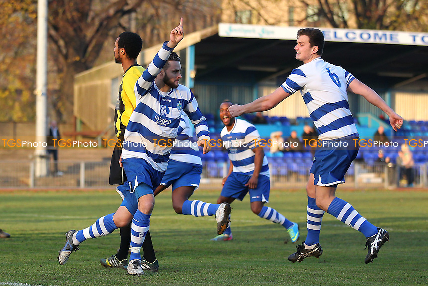 Paul Clayton scores an early goal for Ilford and celebrates - Ilford vs Enfield - Essex Senior League Football at Cricklefields Stadium, Seven Kings  - 29/11/14 - MANDATORY CREDIT: Gavin Ellis/TGSPHOTO - Self billing applies where appropriate - contact@tgsphoto.co.uk - NO UNPAID USE