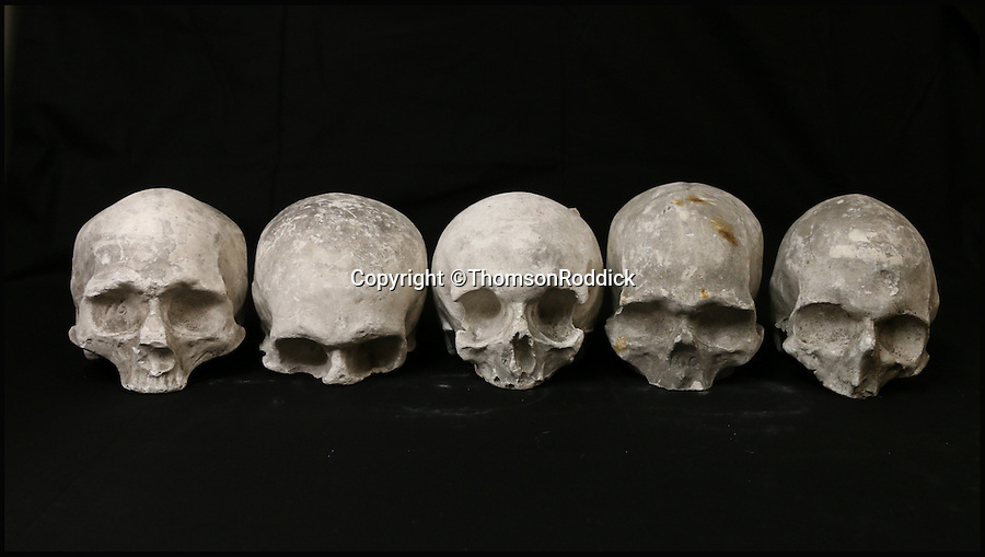 BNPS.co.uk (01202 558833)<br /> Pic: ThomsonRoddick/BNPS<br /> <br /> Five 19th century cast plaster skulls sold for £1,800.<br /> <br /> These disturbing Victorian plaster cast heads of notorious criminals are a far cry from today's bland mugshots of lowlifes.<br /> <br /> Two of the heads have been identified as Benjamin Courvoisier, a serial killer in the mould of Jack the Ripper, and coachman Daniel Good who mutilated his pregnant mistress. <br /> <br /> In total, nine heads were discovered at an outbuilding at a rural home just outside Penrith, Cumbria, which have now fetched almost £40,000 at auction. <br /> <br /> Experts predicted the collection of heads would sell for £2,000  but Courvoisier's head alone went for £20,000.<br /> <br /> Two of the heads were made by the famous British exponent of phrenology, James De Ville, who built a private museum of more than 5,000 specimens.