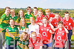 Pupils from Scoil Phobail Sliabh Luachra, Rathmore display their who are enjoying the rivialry in the school ahead of the All Ireland final in the school on Monday front l-r: Catriona O'Sullivan, Catrina McCarthy. Middle row: Fiona Dineen, Orla O'Connor, Hannah O'Brien, Corina Cronin, Patrick Twomey. Back row; Lorraine O'Brien, Georgina Giles, Aoife Hassett, Julianne O'Shea, Tadgh Mahony, John Daly, Oliver O'Connor, Cian Leahy and Philip Murphy