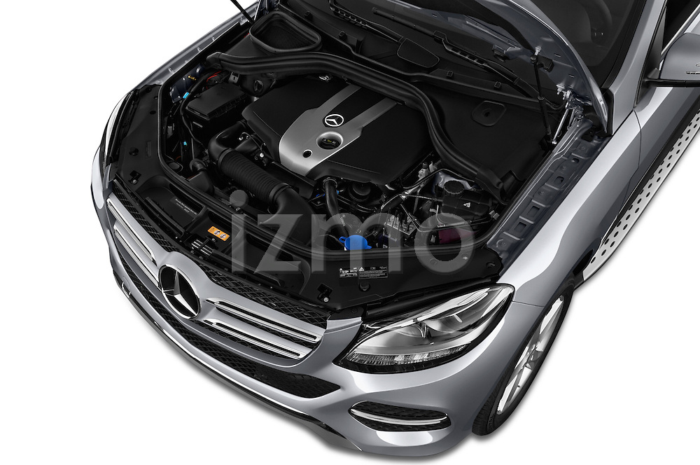 Car Stock 2016 Mercedes Benz GLE-Class GLE300d 5 Door SUV Engine  high angle detail view
