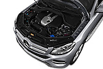 Car Stock 2017 Mercedes Benz GLE-Class GLE300d 5 Door SUV Engine  high angle detail view