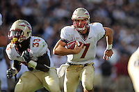 Sept. 19, 2009; Provo, UT, USA; Florida State Seminoles quarterback (7) Christian Ponder runs the ball in the second quarter against the BYU Cougars at LaVell Edwards Stadium. Mandatory Credit: Mark J. Rebilas-
