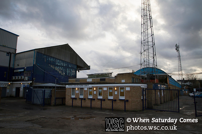 Southend United 1 Burton Albion 1, 22/02/2016. Roots Hall, League One. The ticket office building at Roots Hall stadium, pictured before Southend United took on Burton Albion in a League 1 fixture. Founded in 1906, Southend United moved into their current ground in 1955, the construction of which was funded by the club's supporters. Southend won this match by 3-1, watched by a crowd of 6503. Photo by Colin McPherson.