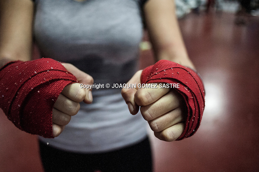 Detail of the boxer's fists Fatima Marti before putting on gloves