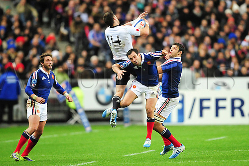 09.11.2013. Paris, France. International rugby union test match. France versus New Zealand. Morgan Parra (Fra) vs Cory Jane (NZ)