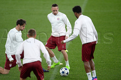 March 6th 2017, London England;  Munich's Javier Martinez (L-R), Rafinha, Franck Ribery and David Alaba prepare for the second leg of the Champions League round of 16 tie against FC Arsenal during a training session in the Emirates stadium.