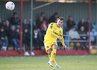 Fleetwood Town's Ross Wallace takes a free kick<br /> <br /> Photographer Rachel Holborn/CameraSport<br /> <br /> Emirates FA Cup First Round - Alfreton Town v Fleetwood Town - Sunday 11th November 2018 - North Street - Alfreton<br />  <br /> World Copyright &copy; 2018 CameraSport. All rights reserved. 43 Linden Ave. Countesthorpe. Leicester. England. LE8 5PG - Tel: +44 (0) 116 277 4147 - admin@camerasport.com - www.camerasport.com