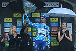Julian Alaphilippe (FRA) Deceuninck-Quick Step extends his lead in the mountains Polka Dot Jersey at the end of Stage 7 of the Criterium du Dauphine 2019, running 133.5km from Saint-Genix-les-Villages to Les Sept Laux - Pipay, France. 15th June 2019.<br /> Picture: ASO/Alex Broadway | Cyclefile<br /> All photos usage must carry mandatory copyright credit (© Cyclefile | ASO/Alex Broadway)