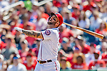 14 April 2018: Washington Nationals first baseman Matt Adams in action against the Colorado Rockies at Nationals Park in Washington, DC. The Nationals rallied to defeat the Rockies 6-2 in the 3rd game of their 4-game series. Mandatory Credit: Ed Wolfstein Photo *** RAW (NEF) Image File Available ***